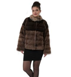 Casual brown fur with Fox collar F863 #furjacket #realfurjacket #furcoat #coat #winter #outfits