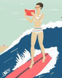 Surfing with reading / Surfeando con la lectura (ilustración de Chris Silas Neal)