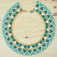 Collier perles OKAMA TURQUOISE Triangles ethique 01