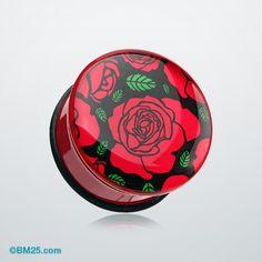 Romantic Red Rose Single Flared Ear Gauge Plug #piercing #eargauge #bodymods