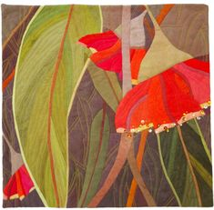 In My Portfolio: Bush Treasure 1 - Ruth de Vos : Textile Artist Textile Fiber Art, Textile Artists, Fabric Painting, Fabric Art, Australian Wildflowers, Acrylic Painting Lessons, Flower Quilts, Textiles, Leaf Art