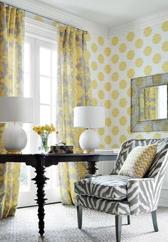 Grey & yellow: wallpaper, zebra print chair, draperies & pillows.