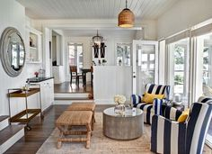 Nautical themes with bold striped patterns in rich, deep navy and accents of yellow make this a sophisticated sitting room. Be the best dressed room in the house by artfully mixing and matching pieces in thoughtful and unexpected ways.