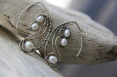 Sterling silver and pearls earrings oxidized by Keepandcherish, $41.99