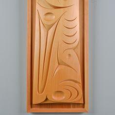 """Raven Whale Fin"" red and yellow cedar panel by Coast Salish artist Luke Marston Douglas Reynolds Gallery"