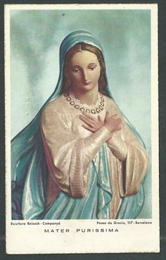 Santa Maria, Pictures Of Mary, Vintage Holy Cards, Mama Mary, Old Cards, Blessed Virgin Mary, Catholic Art, Jesus On The Cross, Indian Gods