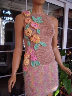 hand made knit dress pinterest | Handmade knitted sleeveless dress/sweater in by GoldenYarn on Etsy, $ ...