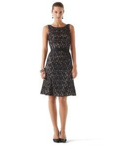 White House | Black Market Fit & Flare Lace Dress  Geo-Print Tulip Skirt Dress #whbm