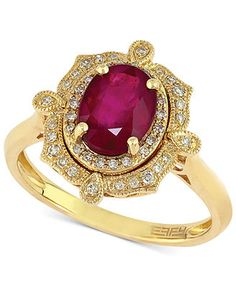 RUBY ROYALÉ by EFFY Ruby (1-1/2 ct. t.w.) and Diamond (1/6 ct. t.w.) Ring in 14k Gold