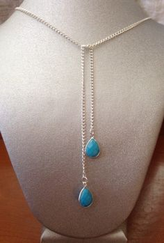 Turquoise Dangles necklace Tie Lariat blue by ScarletMareStudio  $30