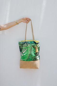 Personalized beach bag /  green palm leaf pattern / tropical tote bags / summer tote handbags / tropical wedding reception