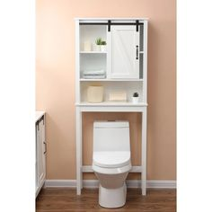 Farmhouse White MDF Over-the-Toilet Space Saver Cabinet - Overstock - 31827195 Over The Toilet Organizer, Above The Toilet Storage, Over The Toilet Cabinet, Over Toilet, Bathroom Organization, Bathroom Storage, Storage Room, Bathroom Ideas, Bathroom Hacks