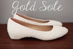 Ivory Pearl Flat Wedding Shoes by goldsole on Etsy, $245.00