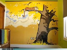 Calvin and Hobbes is perfect theme for a kids room.