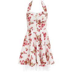 Floral halter neck prom dress (48.160 CLP) ❤ liked on Polyvore featuring dresses, vestidos, floral, short dresses, white, floral dress, short prom dresses, white halter top and floral prom dresses