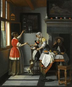 The Athenaeum - Interior with a Child Feeding a Parrot (Pieter de Hooch - )