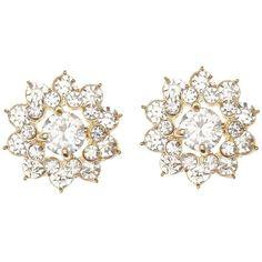Charlotte Russe Rhinestone Flower Stud Earrings ($6) ❤ liked on Polyvore featuring jewelry, earrings, gold, rhinestone earrings, oversized jewelry, charlotte russe, cluster earrings and snap button jewelry