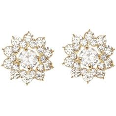 Charlotte Russe Rhinestone Flower Stud Earrings ($6) ❤ liked on Polyvore featuring jewelry, earrings, gold, rhinestone earrings, oversized jewelry, charlotte russe, cluster earrings and snap button jewelry