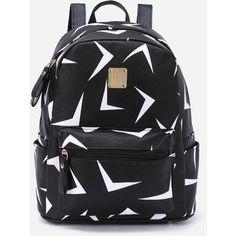 Black Triangle Print Metal Embellished Zip Pocket Backpack ($14) ❤ liked on Polyvore featuring bags, backpacks, black, decorating bags, pattern bag, embellished bag, backpack bags and knapsack bag