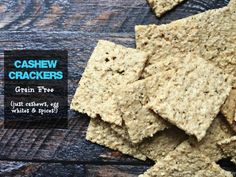 These cashew crackers are so easy and they are grain free. All you need are cashews, egg whites and spices to make this low carb and tasty cracker.