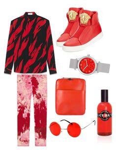 Designer Clothes, Shoes & Bags for Women Versace, Yves Saint Laurent, Men's Fashion, Gucci, Menswear, Louis Vuitton, Shoe Bag, Polyvore, Red