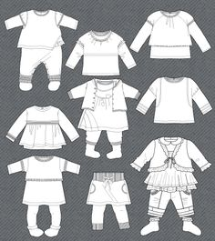 Set of isolated fashion flats for baby girls | cute vector art for ...