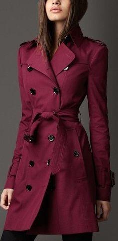Waist Tie Trench Coat in Deep Red