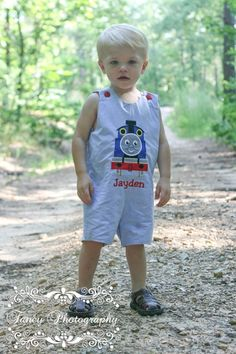 Personalized Thomas the Train Baby Shortall:First Birthday Jon Jon|Boutique Boys Birthday Clothes