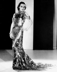 Dolores Del Rio in a gown by Orry-Kelly to publicize the film Wonder Bar, 1934