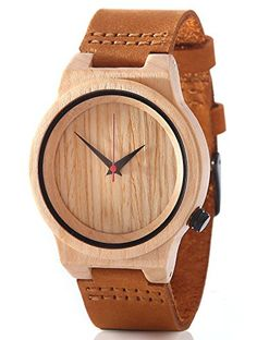 Bamboo Wood Watch Natural Maple Leather band Casual Men or Women Gift – Wooden Watches Store