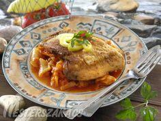 Lecsós ponty recept Fish Recipes, Ricotta, Paleo, Dishes, Chicken, Fishing, Food, Sup Fishing, Plate