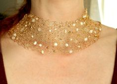 Gold Wire Necklace Freshwater Pearl Necklace Crochet by NaiveChic, $72.00 Wow...