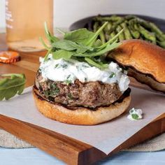 Lamb Burgers with Feta-Mint Spread | MyRecipes.com #myplate #protein #grain