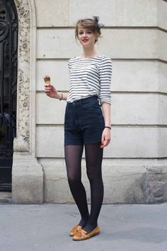 Shorts with tights. Highlights are red lips with musturd shoes and bun