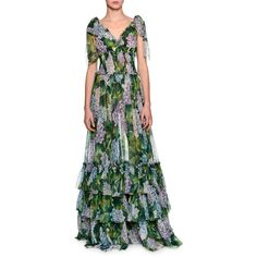Dolce & Gabbana Tiered Hydrangea Chiffon Gown ($5,395) ❤ liked on Polyvore featuring dresses, gowns, green pattern, tiered ruffle maxi skirt, green evening gown, green maxi skirt, chiffon dress and green evening dress