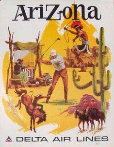 "Delta Airlines ""Arizona"" Travel Poster, 1960s."