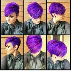 Purple Hair Color Ideas for Short Hair Purple Hair Color Ideas for Short Hair are in right now! Tell me, what can be better shade of purple hair colo. Purple Pixie Cut, Hair Color Purple, Hair Colors, Short Purple Hair, Funky Hairstyles, Pretty Hairstyles, Short Haircuts, Long Pixie Hairstyles, Hairstyles 2018