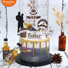 Happy Birthday Papa Cake, Happy Fathers Day Cake, Birthday Cake For Him, Happy Birthday Parties, Birthday Cake Toppers, Fathers Birthday Cake, Easy Cake Decorating, Cake Decorating Supplies, Dad Cake