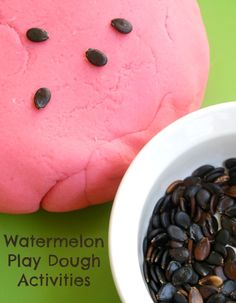 Fine motor and sensory play with watermelon play dough and watermelon seeds