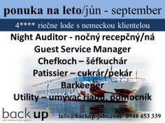 Otvorené pozície na letné obdobie JÚN - SEPTEMBER/OKTÓBER   - švajčiarske pracovné zmluvy  - ubytovanie a strava zdarma - cestovne náklady preplácané - nemecká klientela   Podmienkou na prijatie je dobrá znalosť nemeckého jazyka (Utility postačí AJ) a pracovné skúsenosti na danej pozícii.    V prípade záujmu a akýchkoľvek otázok nás neváhajte kontaktovať na nižšie uvedenom tel. čísle alebo E-mailom.   backup jobs agency team  info@backup-jobs.com  0948 453 339