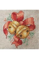 Jingle Bell Cross-Stitch - Free PDF Download Chart • This would also look great with silver bells and blue ribbon.