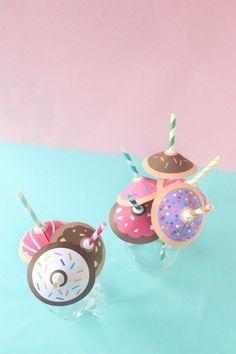 Free printable donut straw umbrellas from A Joyful Riot