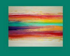 Il sagit dune peinture originale sur toile Galerie. Tendu et inutile pour lencadrement.  Il sagit dune peinture magnifique en personne. Beau bijou tons orange, rouge, jaune, bleu sarcelle, aqua et bleu avec des accents de camel et taupe et touches de doré et de bronze pour un léger scintillement dans les taches. Il y a des touches de craies pastels pour profondeur supplémentaire qui sera scellé.  Légèrement texturé pour une fluidité. Pourrait être affiché dans nimporte quelle direction…