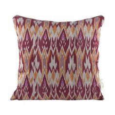 Burgundy & Orange Zig Zag Ikat Throw Pillow ($85) ❤ liked on Polyvore featuring home, home decor, throw pillows, outdoor accent pillows, zig zag throw pillows, bohemian throw pillows, outdoor toss pillows and tangerine throw pillows