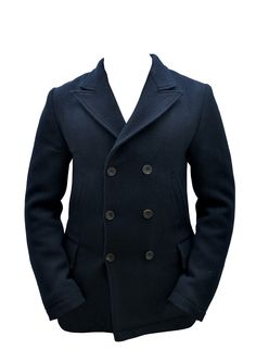 Luxire Men's Coat made of Wool Peacoat Dugdale Navy Fabric
