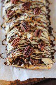 Magic Chocolate, Coconut, and Pecan Pastry Braid    by Willow Bird Baking #Pecan #Coconut #Chocolate