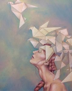 painting of woman with origami birds