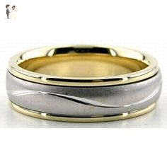 Mens 14K White and Yellow Gold Satin Finish Wedding Band Ring 6mm Wide Sizes 4-12, Mens and Womens Wedding Bands - Wedding and engagement rings (*Amazon Partner-Link)