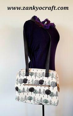Forest Wide Zip Shoulder Bag by Zankyo Craft #madebyastressednurse