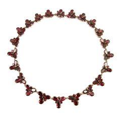 - Antique graduated garnet foliate cluster necklace, c.1790,